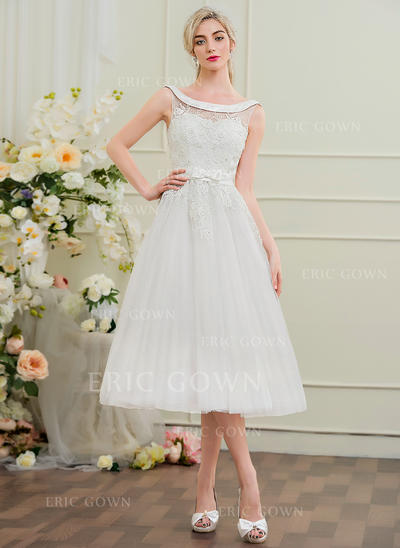 A-Line/Princess Off-the-Shoulder Tea-Length Tulle Lace Wedding Dress With Beading Bow(s) (002095839)