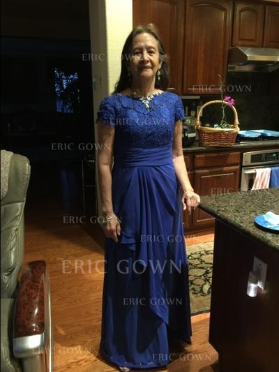 A-Line/Princess Chiffon Short Sleeves Scoop Neck Floor-Length Zipper Up Mother of the Bride Dresses (008212717)
