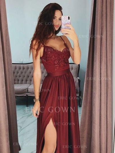 A-Line/Princess V-neck Floor-Length Prom Dresses With Appliques Split Front (018219264)