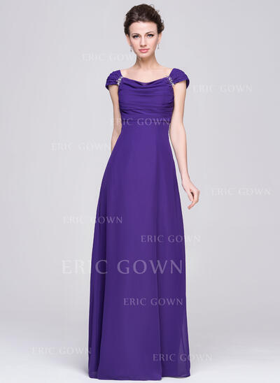 Empire Cowl Neck Floor-Length Chiffon Mother of the Bride Dress With Ruffle Beading Sequins (008058411)