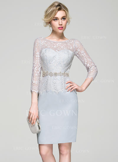 Sheath/Column Scoop Neck Knee-Length Satin Lace Cocktail Dress With Beading (016081194)