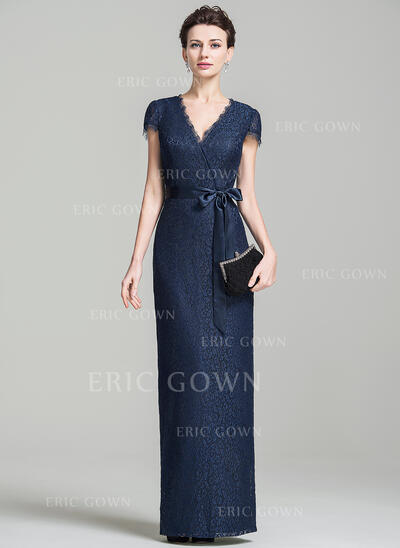 Sheath/Column V-neck Floor-Length Lace Evening Dress With Bow(s) (017092347)