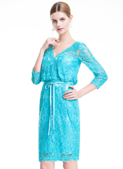Sheath/Column V-neck Knee-Length Lace Cocktail Dress With Bow(s) (016076146)