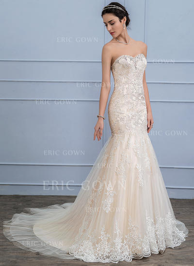 Trumpet/Mermaid Sweetheart Court Train Tulle Lace Wedding Dress With Beading Sequins (002107824)