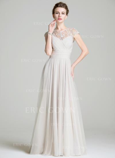 A-Line/Princess Chiffon Sleeveless Scoop Neck Floor-Length Zipper Up Mother of the Bride Dresses (008072702)