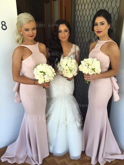 Trumpet/Mermaid Satin Bridesmaid Dresses Cascading Ruffles Scoop Neck Sleeveless Sweep Train (007144971)