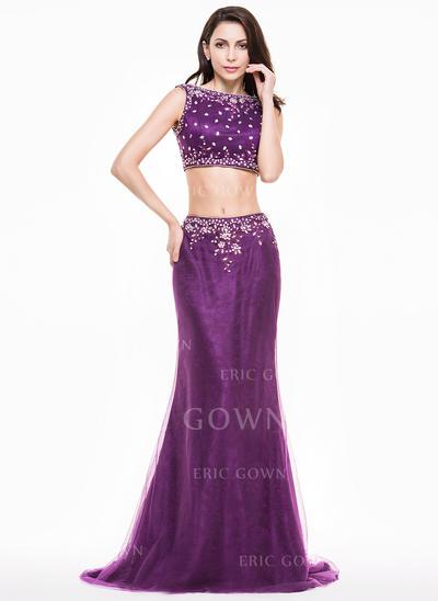 Trumpet/Mermaid Scoop Neck Sweep Train Evening Dresses With Beading Sequins (017065581)