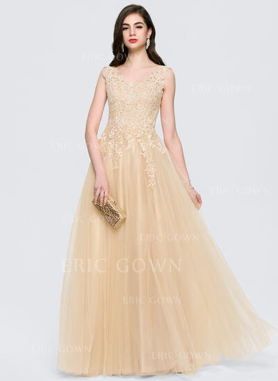 A-Line/Princess V-neck Floor-Length Tulle Evening Dress With Beading (017164953)