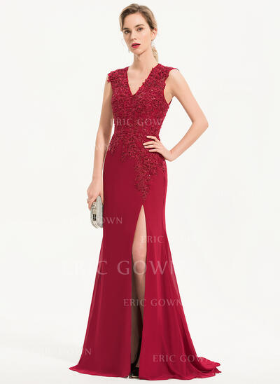 Trumpet/Mermaid V-neck Sweep Train Chiffon Evening Dress With Beading Sequins (017186142)