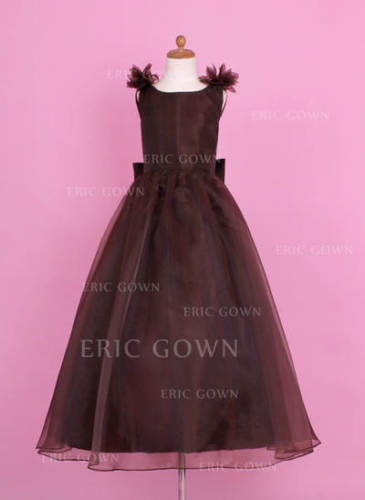 Chic Scoop Neck A-Line/Princess Flower Girl Dresses Floor-length Organza/Charmeuse Sleeveless (010002147)