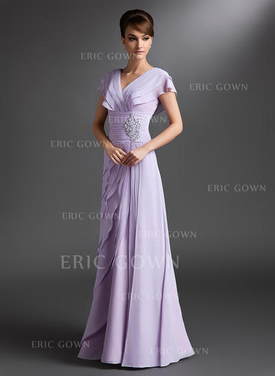 A-Line/Princess Chiffon Short Sleeves V-neck Floor-Length Zipper Up Mother of the Bride Dresses (008006095)
