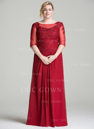 A-Line/Princess Chiffon Lace 1/2 Sleeves Scoop Neck Floor-Length Zipper Up Mother of the Bride Dresses (008077018)