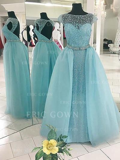 Ball-Gown Scoop Neck Floor-Length Tulle Evening Dresses With Beading (017217133)