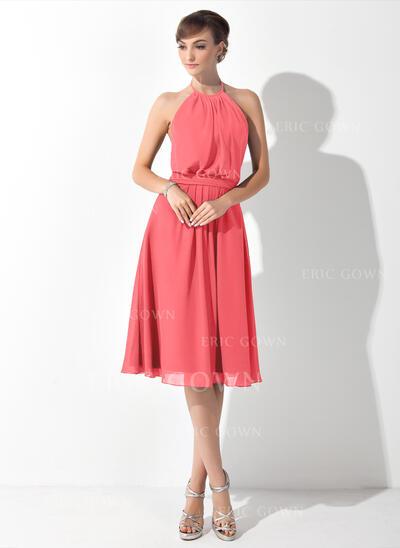 A-Line Halter Knee-Length Chiffon Bridesmaid Dress With Ruffle Bow(s) (007063021)