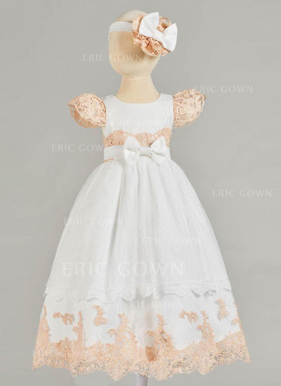 A-Line/Princess Scoop Neck Floor-length Tulle Lace Christening Gowns With Bow(s) (2001216842)