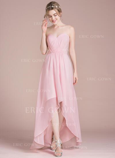A-Line Sweetheart Asymmetrical Chiffon Bridesmaid Dress (007104735)