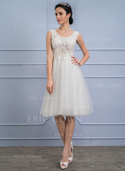 A-Line/Princess Scoop Neck Knee-Length Tulle Lace Wedding Dress (002107842)