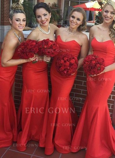 Trumpet/Mermaid Sweetheart Sweep Train Bridesmaid Dresses (007146971)
