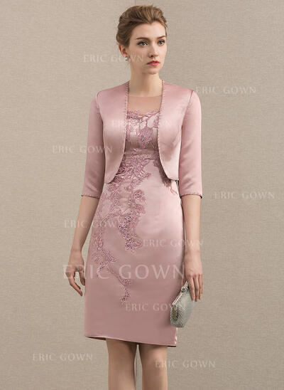 Sheath/Column Scoop Neck Knee-Length Satin Mother of the Bride Dress With Beading Appliques Lace (008152136)