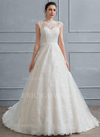 Ball-Gown Scoop Neck Court Train Lace Wedding Dress (002117034)