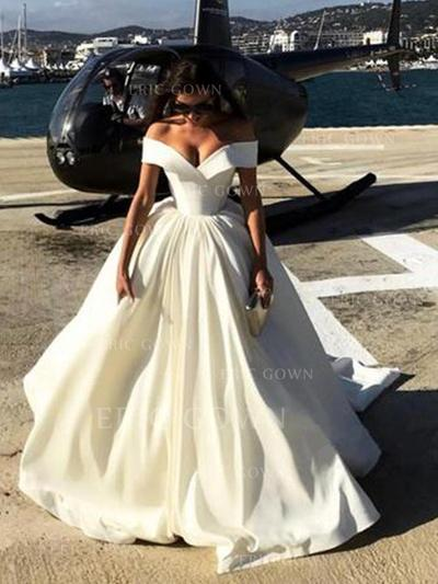 Ball-Gown Off-The-Shoulder Sweep Train Wedding Dresses With Ruffle (002218623)