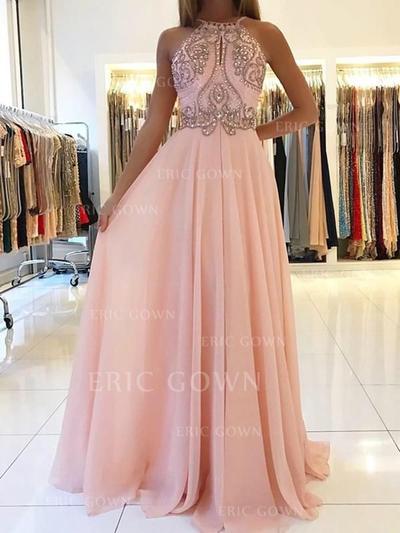 A-Line/Princess Scoop Neck Floor-Length Chiffon Evening Dresses With Beading (017217850)