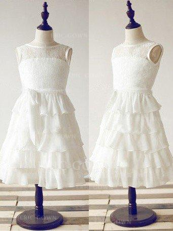 A-Line/Princess Scoop Neck Ankle-length With Ruffles/Sash Chiffon/Lace Flower Girl Dresses (010211947)