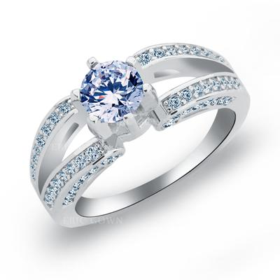 Rings Copper/Zircon/Platinum Plated Ladies' Shining Wedding & Party Jewelry (011165405)