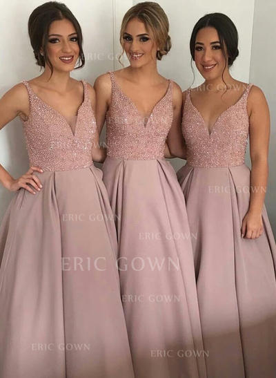 A-Line/Princess Satin Bridesmaid Dresses Beading Sequins V-neck Sleeveless Asymmetrical (007144980)