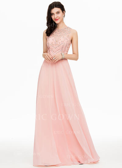 A-Line/Princess Scoop Neck Floor-Length Chiffon Prom Dresses With Beading Sequins (018163277)