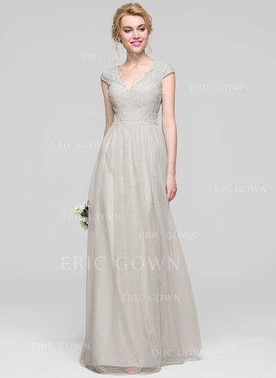 A-Line/Princess V-neck Floor-Length Tulle Bridesmaid Dress With Ruffle (007090143)