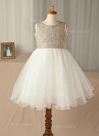 A-Line/Princess Knee-length Flower Girl Dress - Tulle/Sequined Sleeveless Scoop Neck (010130939)