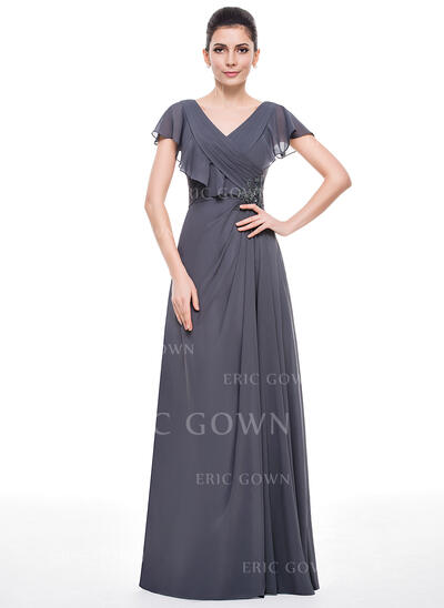 A-Line/Princess V-neck Floor-Length Chiffon Mother of the Bride Dress With Beading Appliques Lace Sequins Cascading Ruffles (008057069)