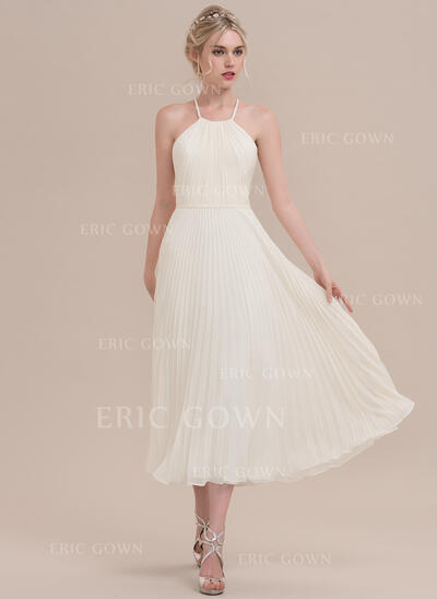 A-Line/Princess Scoop Neck Tea-Length Chiffon Cocktail Dress With Pleated (016108754)