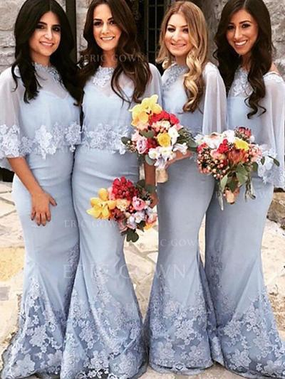 Trumpet/Mermaid Satin Bridesmaid Dresses Appliques Lace Scoop Neck Short Sleeves Floor-Length (007211689)