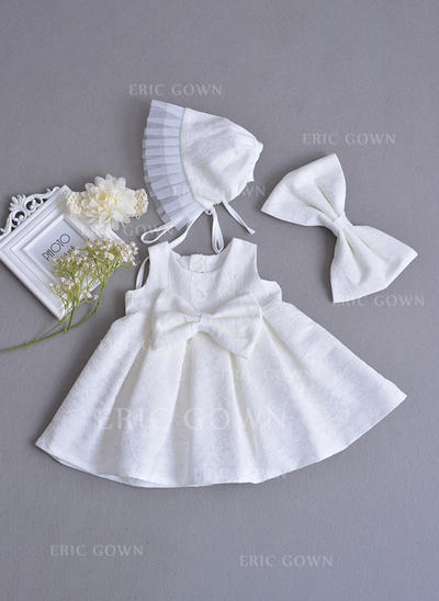 A-Line/Princess Scoop Neck Ankle-length Lace Christening Gowns With Beading Bow(s) (2001216781)