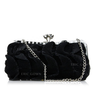 Clutches Wedding/Ceremony & Party Silk Kiss lock closure Lovely Clutches & Evening Bags (012185167)
