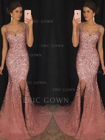Sheath/Column Sweetheart Sweep Train Prom Dresses With Sequins Split Front (018217916)