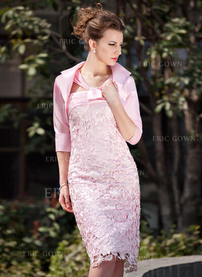 Sheath/Column V-neck Knee-Length Lace Mother of the Bride Dress With Ruffle (008005937)