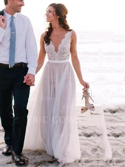 A-Line/Princess Tulle Sleeveless V-neck Sweep Train Wedding Dresses (002144842)
