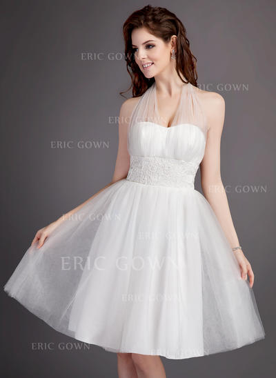 Halter A-Line/Princess Wedding Dresses Tulle Ruffle Lace Sleeveless Knee-Length (002213300)