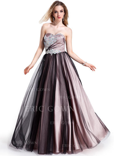 Ball-Gown Sweetheart Floor-Length Prom Dresses With Beading Appliques Lace (018025295)