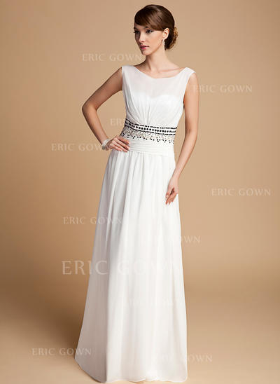 A-Line/Princess Chiffon Sleeveless Scoop Neck Floor-Length Zipper Up Mother of the Bride Dresses (008211061)