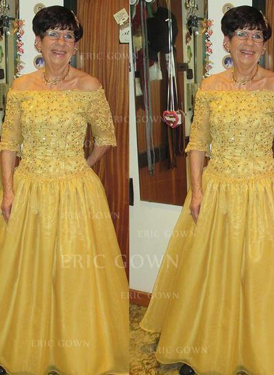 A-Line/Princess Taffeta 1/2 Sleeves Off-the-Shoulder Floor-Length Zipper Up Mother of the Bride Dresses (008212778)