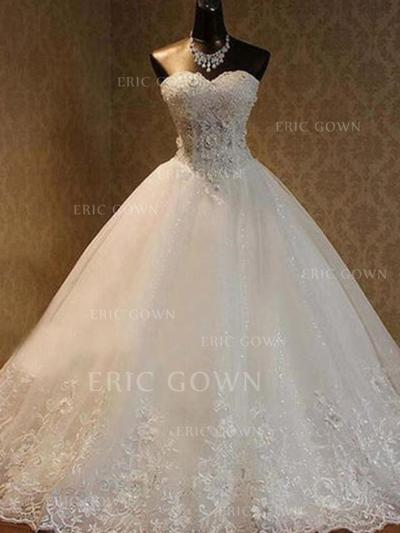Ball-Gown Sweetheart Sweep Train Wedding Dresses With Lace Beading Appliques Lace Bow(s) (002213463)