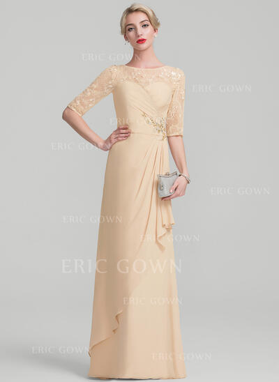 A-Line/Princess Scoop Neck Floor-Length Chiffon Lace Sequined Mother of the Bride Dress With Beading Sequins Cascading Ruffles (008107646)