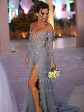 A-Line/Princess Off-the-Shoulder Sweep Train Prom Dresses With Appliques Lace Split Front (018218621)