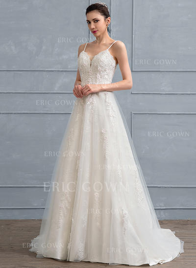 A-Line/Princess Sweep Train Tulle Lace Wedding Dress With Beading Flower(s) Sequins (002111944)