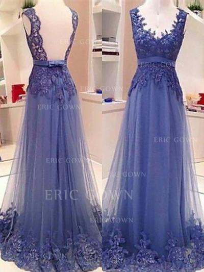 A-Line/Princess V-neck Floor-Length Tulle Evening Dresses With Lace Sash Bow(s) (017217127)