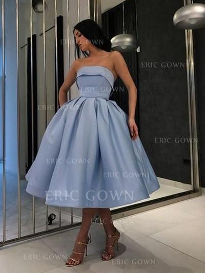 Ball-Gown Strapless Tea-Length Homecoming Dresses With Ruffle (022219318)